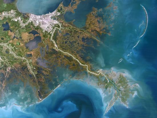 Mississippi Delta, Satellite Image-PLANETOBSERVER-Photographic Print