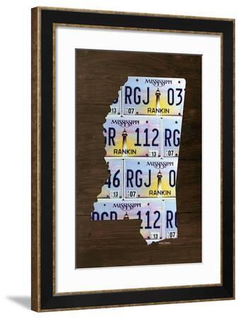 Mississippi License Plate Map-Design Turnpike-Framed Giclee Print