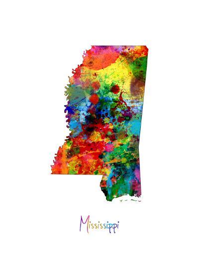 Mississippi Map-Michael Tompsett-Art Print