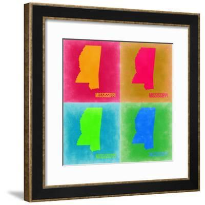 Mississippi Pop Art Map 2-NaxArt-Framed Premium Giclee Print