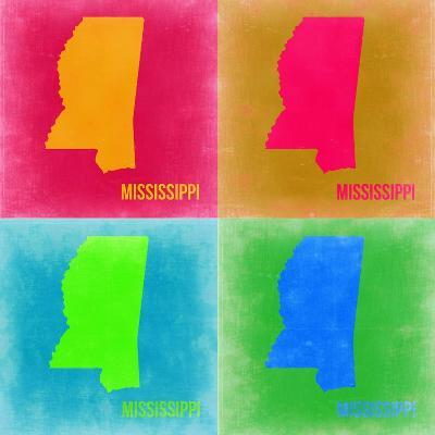 Mississippi Pop Art Map 2-NaxArt-Art Print