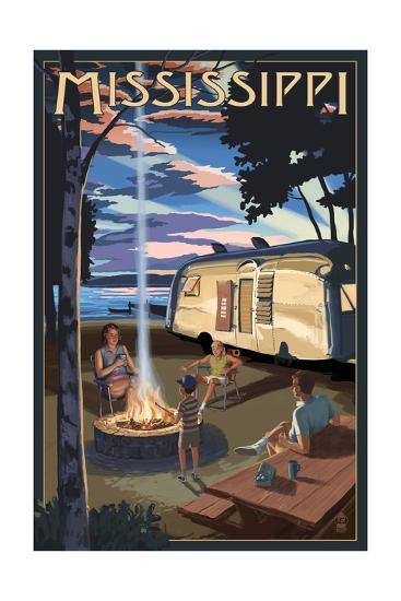 Mississippi - Retro Camper and Lake-Lantern Press-Art Print
