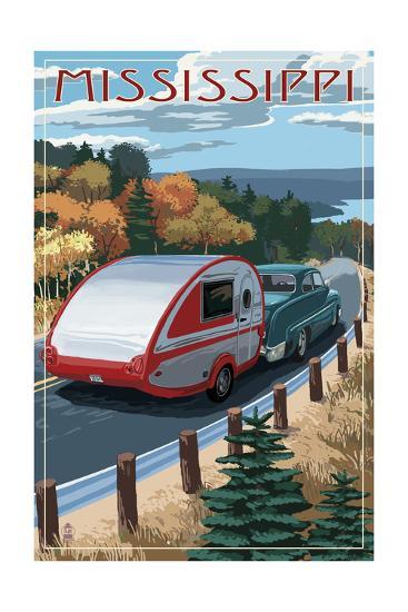 Mississippi - Retro Camper on Road-Lantern Press-Art Print