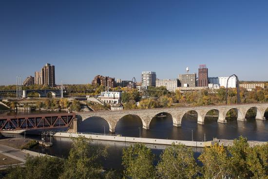 Mississippi River and City Skyline, Minneapolis, Minnesota, USA-Walter Bibikow-Photographic Print