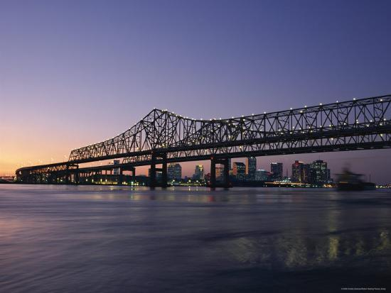 Mississippi River Bridge in the Evening and City Beyond, New Orleans, Louisiana-Charles Bowman-Photographic Print