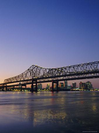 Mississippi River Bridge, New Orleans, Louisiana, USA-Charles Bowman-Photographic Print