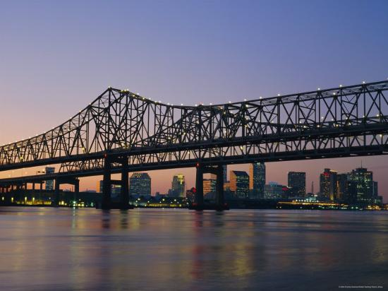 Mississippi River Bridge, New Orleans, Louisiana, USA-Charles Bowman-Photographic Print