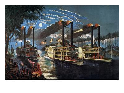 Mississippi River Race-Currier & Ives-Giclee Print