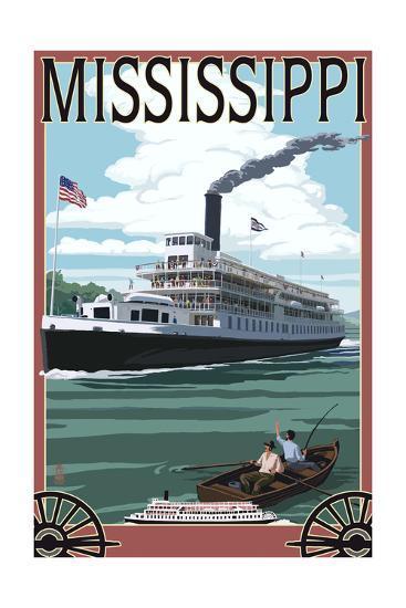 Mississippi - Riverboat and Rowboat-Lantern Press-Art Print