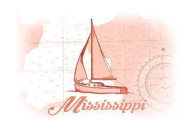 Mississippi - Sailboat - Coral - Coastal Icon-Lantern Press-Art Print