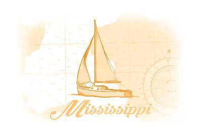 Mississippi - Sailboat - Yellow - Coastal Icon-Lantern Press-Art Print