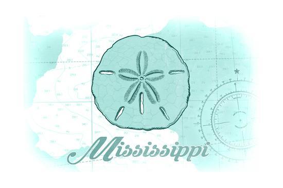 Mississippi - Sand Dollar - Teal - Coastal Icon-Lantern Press-Art Print