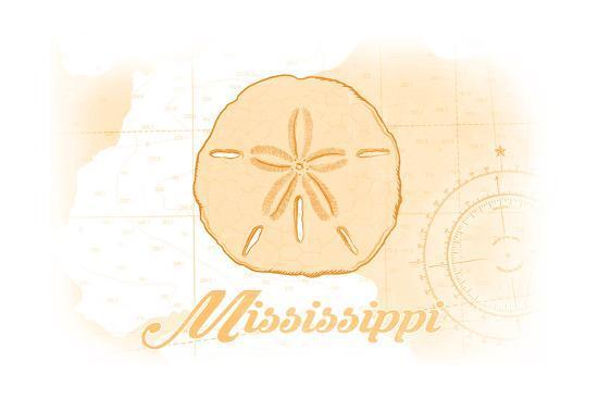 Mississippi - Sand Dollar - Yellow - Coastal Icon-Lantern Press-Art Print