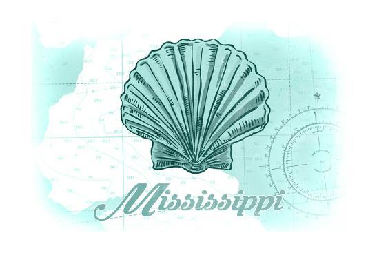 Mississippi - Scallop Shell - Teal - Coastal Icon-Lantern Press-Art Print