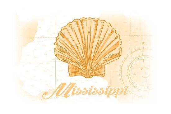 Mississippi - Scallop Shell - Yellow - Coastal Icon-Lantern Press-Art Print