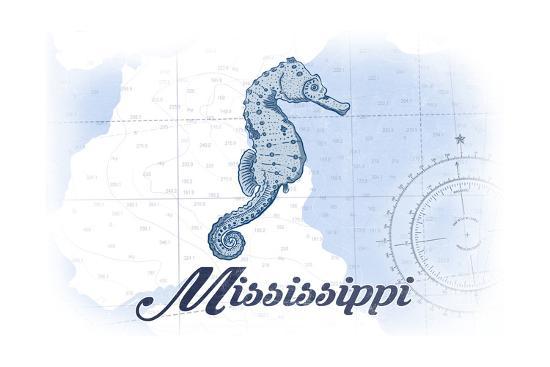 Mississippi - Seahorse - Blue - Coastal Icon-Lantern Press-Art Print