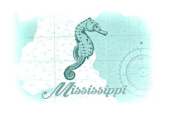 Mississippi - Seahorse - Teal - Coastal Icon-Lantern Press-Art Print