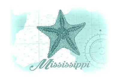 Mississippi - Starfish - Teal - Coastal Icon-Lantern Press-Framed Art Print