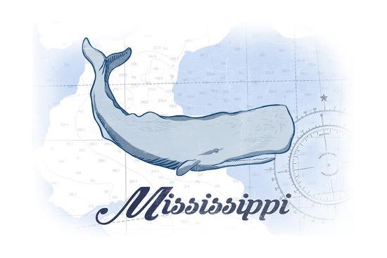 Mississippi - Whale - Blue - Coastal Icon-Lantern Press-Art Print