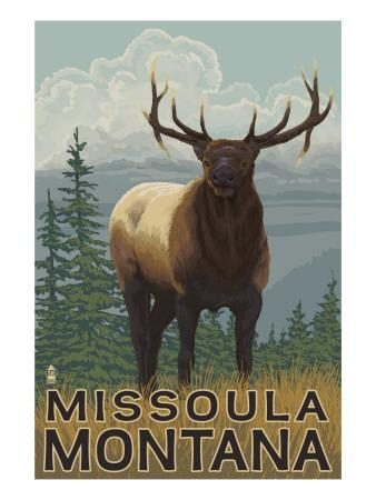 Missoula, Montana - Elk Scene-Lantern Press-Art Print