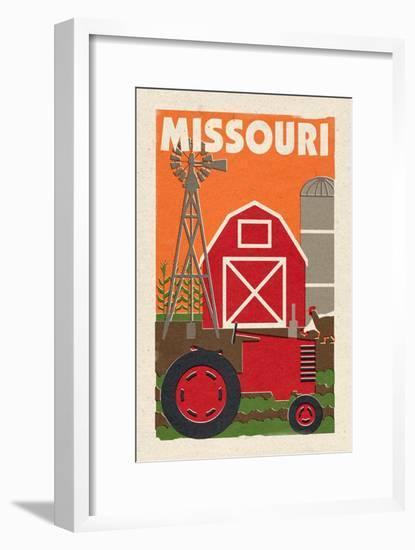 Missouri - Country - Woodblock-Lantern Press-Framed Art Print