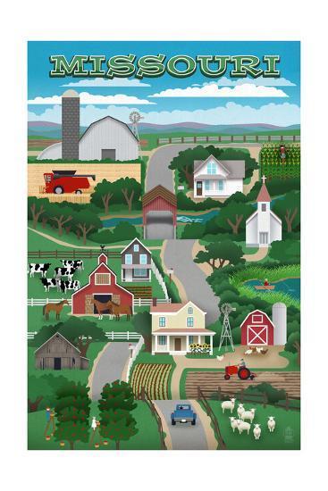 Missouri - Retro Style Countryside-Lantern Press-Art Print