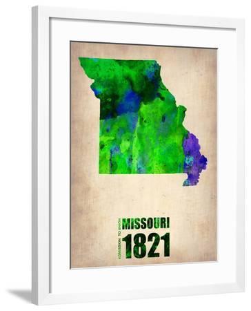 Missouri Watercolor Map-NaxArt-Framed Art Print