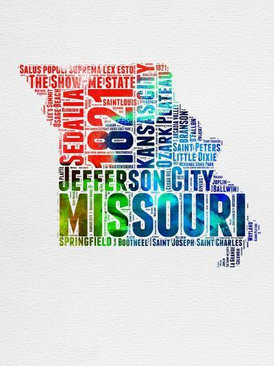 Missouri Watercolor Word Cloud-NaxArt-Art Print