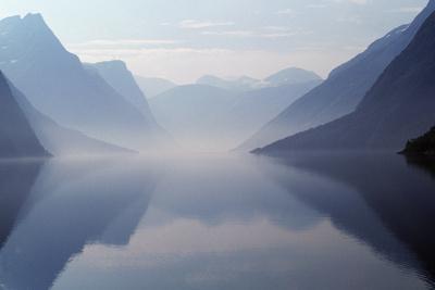 Art print POSTER Mist on Eikesdalvatnet Lake Norway