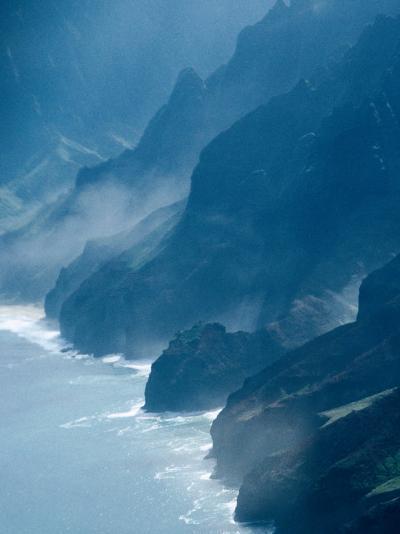 Mist on Rocky Coastline, Kauai, Hawaii, USA-Eric Wheater-Photographic Print