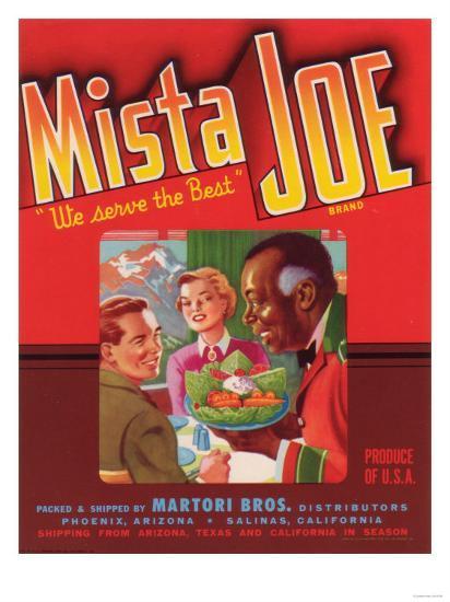 Mista Joe Vegetable Label - Phoenix, AZ-Lantern Press-Art Print