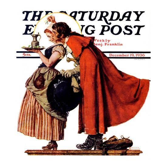 """Mistletoe Kiss"" or ""Feast for a Traveler"" Saturday Evening Post Cover, December 19,1936-Norman Rockwell-Giclee Print"
