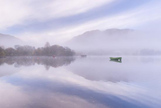 Misty autumn morning on Ullswater in the Lake District, Cumbria, England. Autumn (November) 2015.-Adam Burton-Photographic Print