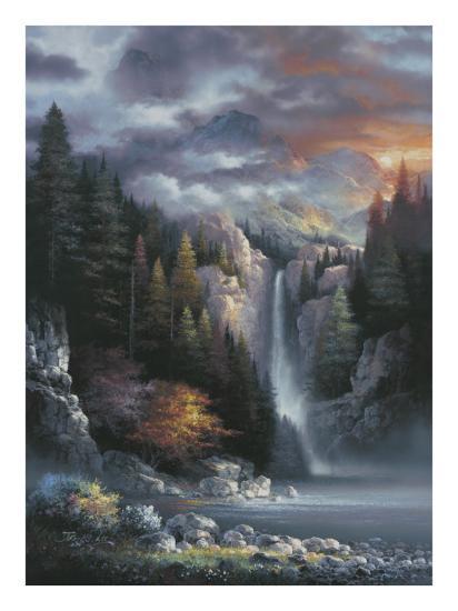 Misty Falls-James Lee-Art Print