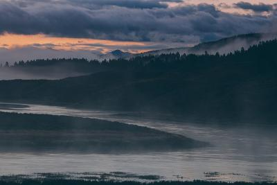Misty Foggy Morning at Yellowstone River Bend--Photographic Print