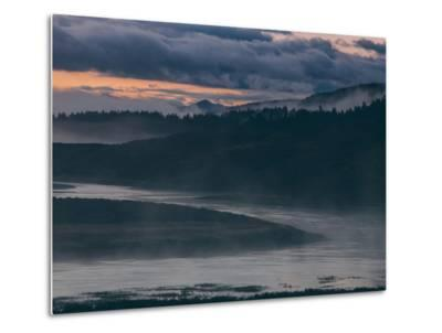 Misty Foggy Morning at Yellowstone River Bend-Vincent James-Metal Print