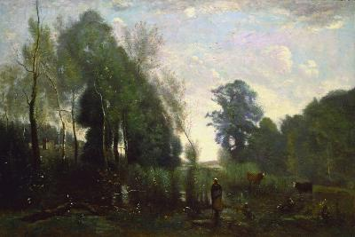 Misty Morning, C.1865-Jean-Baptiste-Camille Corot-Giclee Print