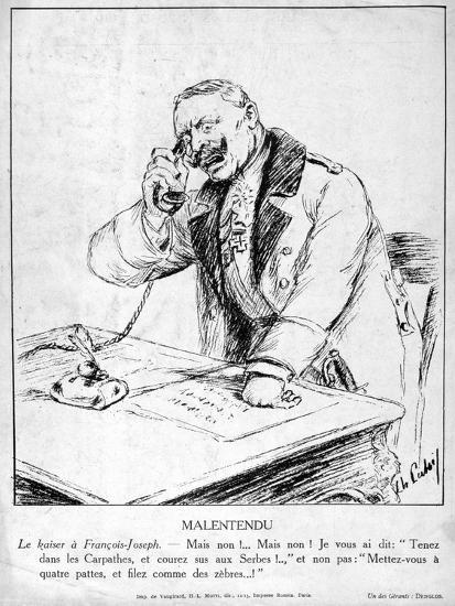 Misunderstanding, Caricatures of Guillaume II of Germany, 1915--Giclee Print