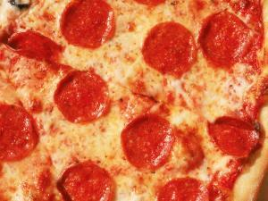 Close-up of Pepperoni Pizza by Mitch Diamond