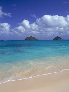 Cloud Filled Sky Over Blue Sea, Lanikai, Oahu, HI by Mitch Diamond