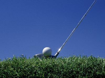 Golf Club Lined Up with Golf Ball on Tee