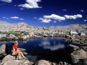 Hiker, Sierra Nevada Range, CA by Mitch Diamond