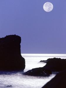 Rocks with Water and Full Moon, Laguna Beach, CA by Mitch Diamond