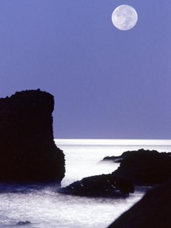 Rocks with Water and Full Moon, Laguna Beach, CA
