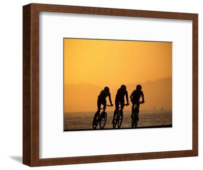 Silhouette of Three Men Riding on the Beach