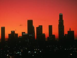 Skyline of Los Angeles at Sunset, CA by Mitch Diamond