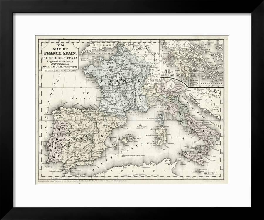 Map Of France N Italy.Mitchell S Map Of France Spain Italy Giclee Print By Art Com