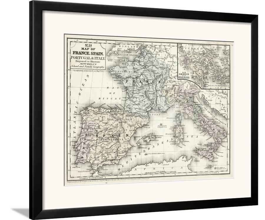 Map Of France N Italy.Mitchell S Map Of France Spain Italy Framed Art Print By Art Com