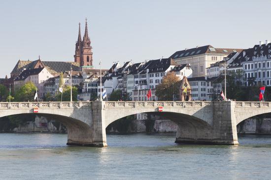 Mittlere Rheinbrucke Bridge and Cathedral-Markus Lange-Photographic Print