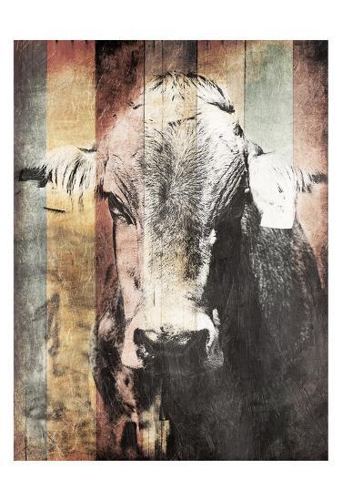 Miultiwood Vintage Cow-Jace Grey-Art Print